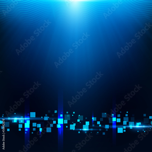 Blue background with cubes, particles|50842678
