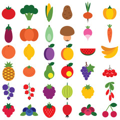 Set of fruits and vegetables isolated on white