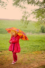 girl with umbrella outdoor