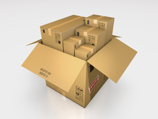 a series of cardboard box 3d illustration
