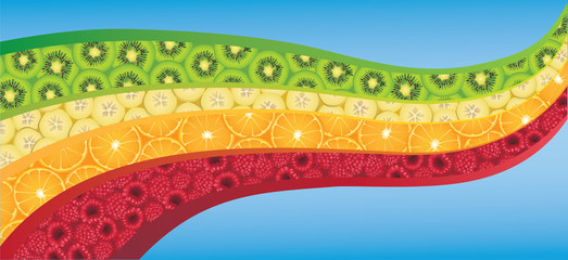Curved wave shape filled with fresh colorful fruits