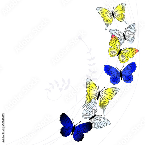 Keuken foto achterwand Vlinders in Grunge Vector background with a butterfly