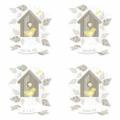 napisy ślubne dwa żółte ptaki w nowym domu