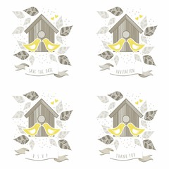 napisy ślubne dwa żółte ptaki pocałunek wśród liści
