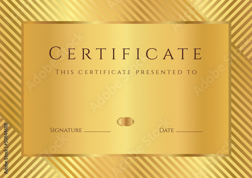 Golden certificate (diploma) of completion (template)