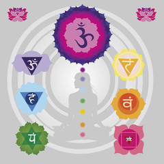 Woman silhouette  with the symbols of seven chakras  and lotuses
