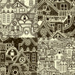 Set of seamless patterns with old town