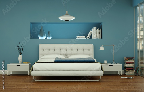 canvas print picture modernes Schlafzimmer in Stadtwohnung