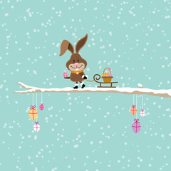 Bunny Pulling Sleigh Easter Basket Tree Snow