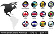 Glossy metal flag buttons, North American countries, part 1