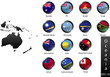 Glossy metal flag buttons, Oceania countries