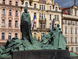 John Hus  monument from Prague