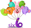 number 6 character with balloons