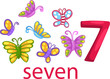 number 7 character with butterflies