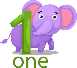 number one character with elephant
