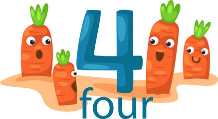 number 4 character with carrots