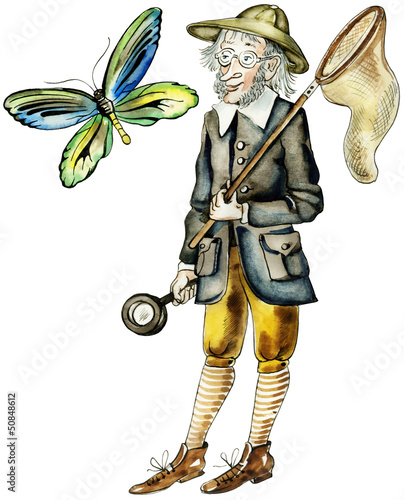 Funny butterfly hunter in vintage suit