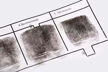 Fingerprints close-up isolated on white