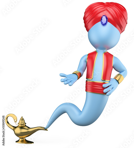 3D white people. The genie in the lamp