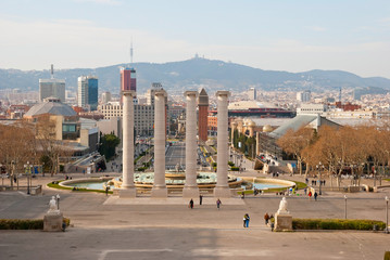 Montjuic columns in Bacelona, Spain
