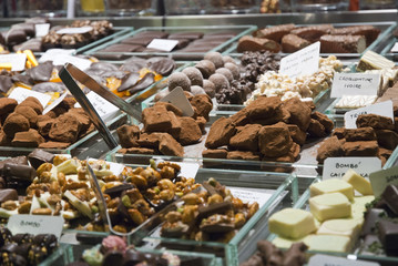 Chocolate truffes selling in store