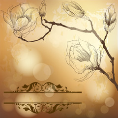 Luxury golden background with magnolia flower