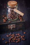 Coffee beans in a vintage glass jar