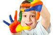 funny kid with stained coloured hand