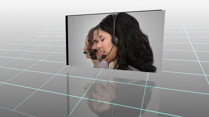 Montage of business people with headset