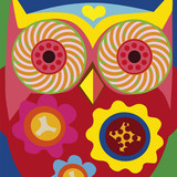 psychodelic art portrait of a сomic owl general
