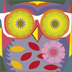psychodelic art portrait of a сomic owl -teacher