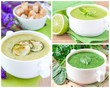 Collage with a green healthy cream soups for menu