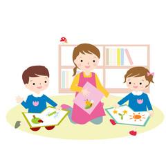 幼稚園 保育園 本を読む 目あり