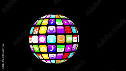 Application icons floating in sphere shape