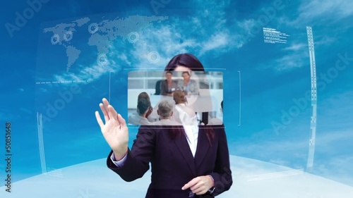 Animation with businesswoman selecting various screens
