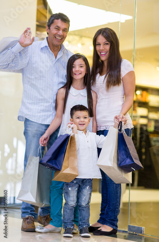 Happy family shopping