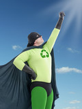 Eco superhero looking towards the Sun
