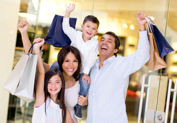 Excited family shopping