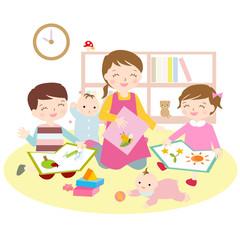 保育園 お母さんと子供 子供部屋