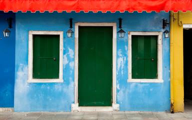 Colorful Burano facade in Venice, Italy