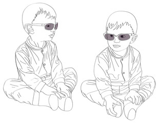 Pt-Small twins boys in sunglasses