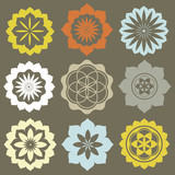 Vector set of flower symbols