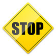 STOP, yellow button, vector