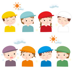 様々な表情 運動会 帽子 色違い 幼稚園