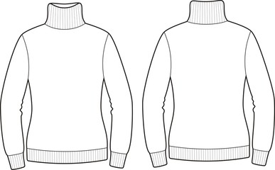 Vector fashion illustration of sweater. Front and back views