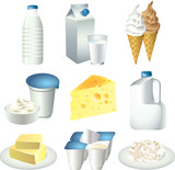 milk products photo-realistic vector set