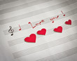 "Words ""I love you !"" in shape of music notes"