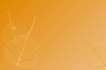 Orange background with leaves