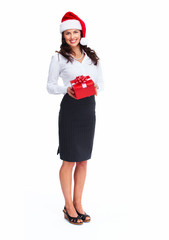 Santa helper business woman with a present.