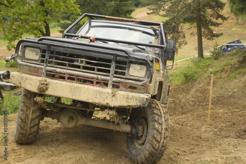 Off-road car in rough terrain